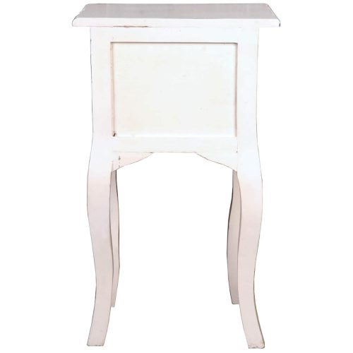 Shabby Chic Collection - Side table with two drawers finished in distressed white - back view CC-TAB1793LD-AW