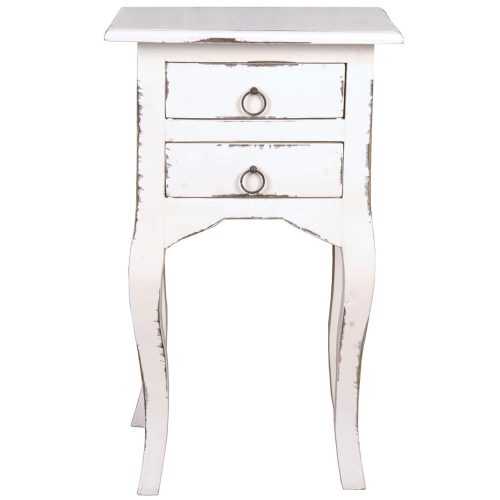 Shabby Chic Collection - Side table with two drawers finished in distressed white - front view CC-TAB1793LD-AW