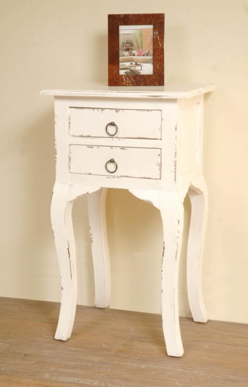 Shabby Chic Collection - Side table with two drawers finished in distressed white - room setting CC-TAB1793LD-AW