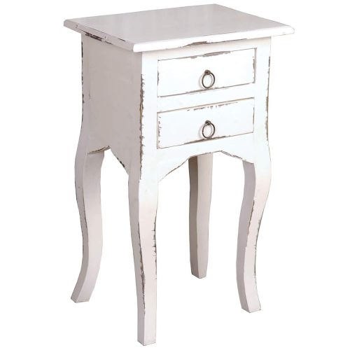 Shabby Chic Collection - Side table with two drawers finished in distressed white - three-quarter view CC-TAB1793LD-AW