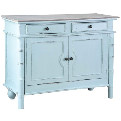 Shabby Chic Collection - Sideboard with drawers finished in beach blue - three-quarter view CC-CAB1296TLD-SBLW