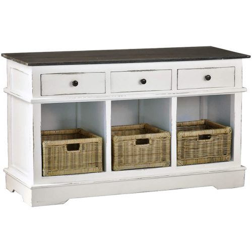 Shabby Chic Collection - Sideboard with three drawers and three baskets - three-quarter view CC-CAB234TLD-WWRW