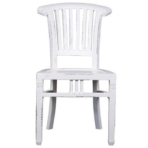 Shabby Chic Collection - Slat back chair finished in a whitewash - front view CC-CHA006LD-WW-2