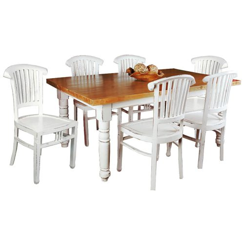 Shabby Chic Collection - Slat back chair finished in a whitewash - table setting CC-CHA006LD-WW