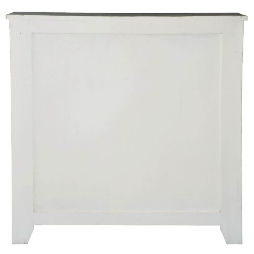 Shabby Chic Collection - Sliding Barn door chest finished in two-tone white and Raftwood - back view CC-CHE117TLD-WWRW