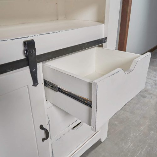Shabby Chic Collection - Sliding Barn door chest finished in two-tone white and Raftwood - detail of drawer CC-CHE117TLD-WWRW
