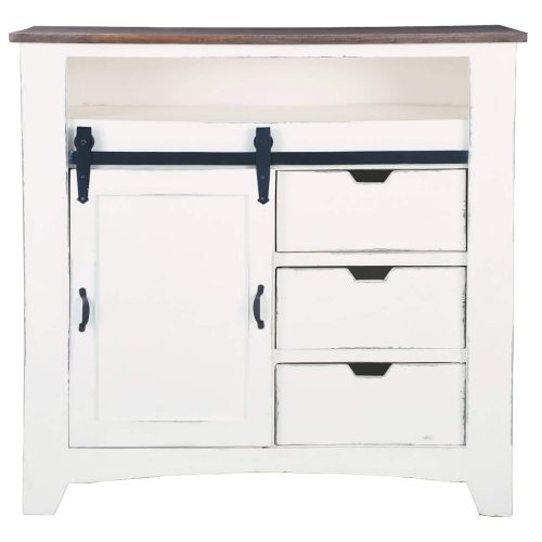 Shabby Chic Collection - Sliding Barn door chest finished in two-tone white and Raftwood - front view CC-CHE117TLD-WWRW