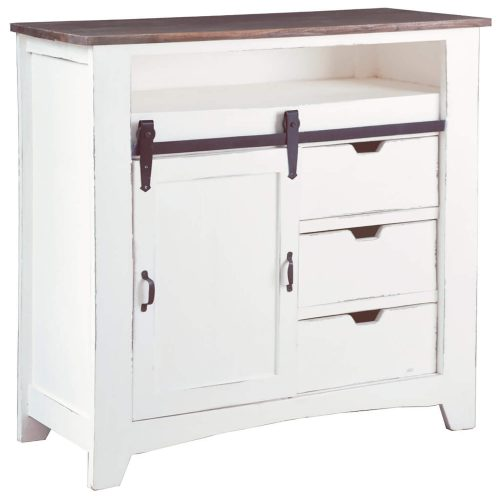 Shabby Chic Collection - Sliding Barn door chest finished in two-tone white and Raftwood - three-quarter view CC-CHE117TLD-WWRW