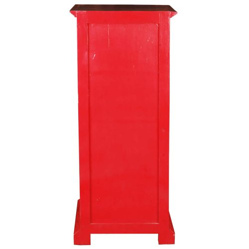Shabby Chic Collection Storage cabinet finished in red with a Raftwood top - back view CC-CAB513TLD-RDRW