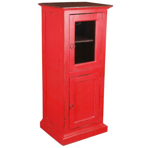 Shabby Chic Collection Storage cabinet finished in red with a Raftwood top - three-quarter view CC-CAB513TLD-RDRW