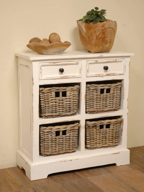 Shabby Chic Collection - Storage cabinet with drawers and four storage baskets finished in distressed white - room setting CC-CAB2229LD-WW-B