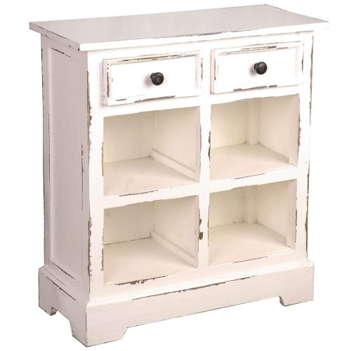 Shabby Chic Collection - Storage cabinet with drawers and storage finished in distressed white - three-quarter view CC-CAB2229LD-WW-B