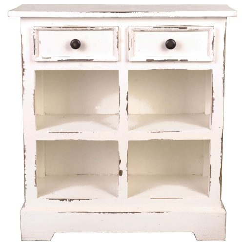 Shabby Chic Collection - Storage cabinet with drawers and storage for baskets finished in distressed white - front view CC-CAB2229LD-WW-B