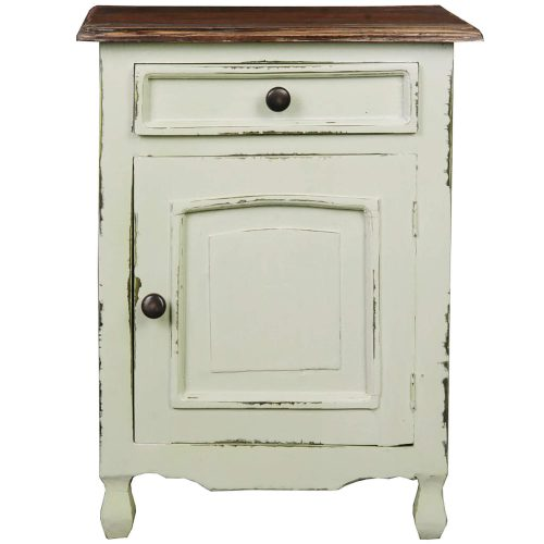 Shabby Chic Collection - Storage table finished in antique green with a Mahogany top - front view CC-CHE502TLD-CMRW