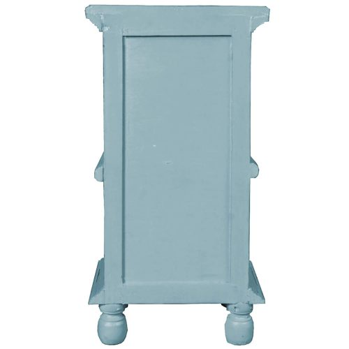 Shabby Chic Collection - Table with storage finished in two-tone beach blue with a Mahogany top - back view CC-TAB016TLD-BBSV