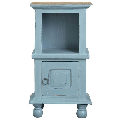 Shabby Chic Collection - Table with storage finished in two-tone beach blue with a Mahogany top - front view CC-TAB016TLD-BBSV