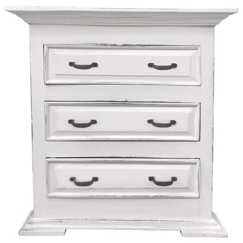 Shabby Chic Collection - Three drawer end table finished in distressed white - front view CC-CHE113LD-WW