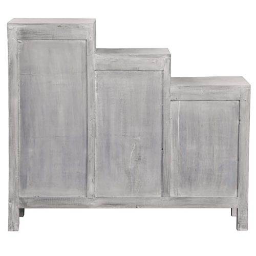Shabby Chic Collection - Tiered shutter cabinet finished in a Gray wash - back view CC-CAB1181LD-SW