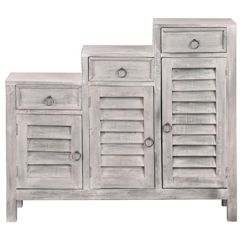 Shabby Chic Collection - Tiered shutter cabinet finished in a Gray wash - front view CC-CAB1181LD-SW