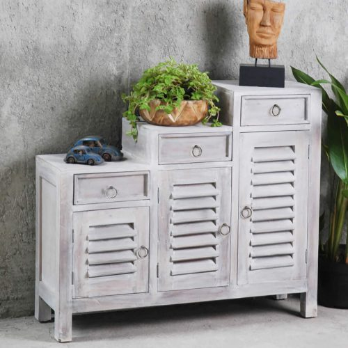 Shabby Chic Collection - Tiered shutter cabinet finished in a Gray wash - room setting CC-CAB1181LD-SW