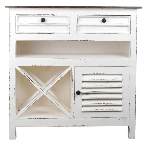 Shabby Chic Collection - Wine Server finished in distressed White - Front view CC-CAB212TLD-WWRW