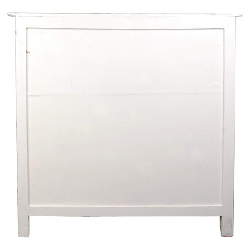 Shabby Chic Collection - Wine Server finished in distressed White - back view CC-CAB212TLD-WWRW