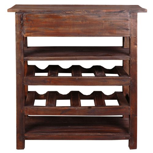 Shabby Chic Collection - Wine server finished in rustic Mahogany - back view CC-RAK030S-RW