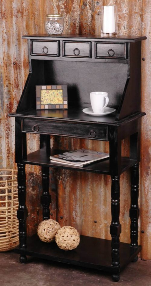 Shabby Chic Collection - Writing table with drawers - finished in antique black - room setting CC-TAB3329LD-AB