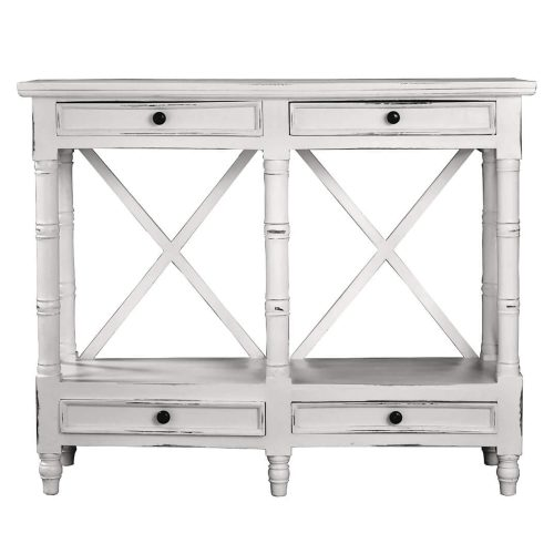 Shabby Chic Collection - X-Console table finished in distressed white - front view CC-TAB1023LD-WW