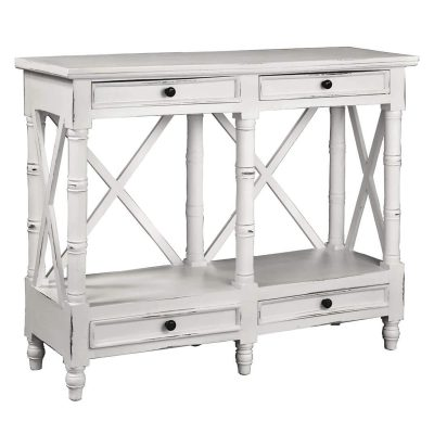 Shabby Chic Collection - X-Console table finished in distressed white - three-quarter view CC-TAB1023LD-WW