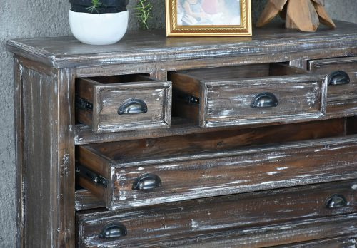 Shabby Chic Collection - six drawer chest finished in a white brushed wash - detail with open drawers CC-CAB259LD-WB