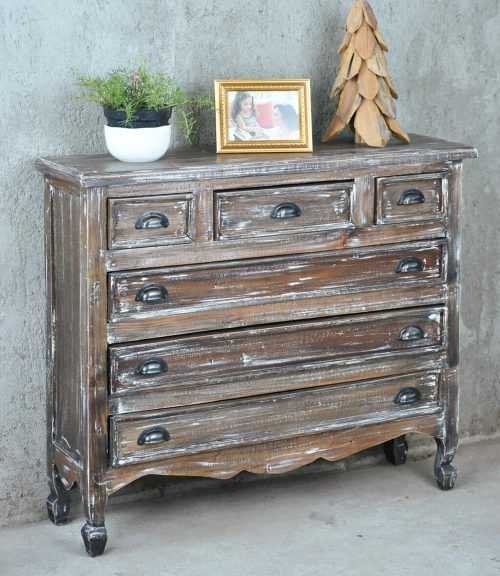 Shabby Chic Collection - six drawer chest finished in a white brushed wash - room setting CC-CAB259LD-WB