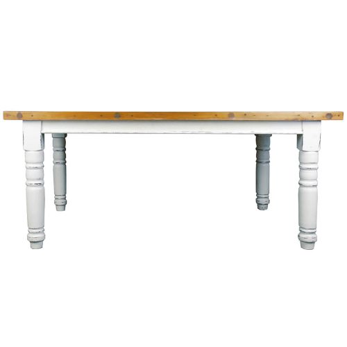 Shabby Chich Collection - Dining table finished in whitewash with Raftwood top - side view CC-TAB1139SO4TLD-WWSV