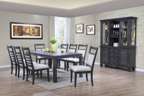 Shades of Gray - 11-piece dining set - extendable dining table - eight upholstered chairs - buffet and hutch DLU-EL-9282-C90-BH-11PC
