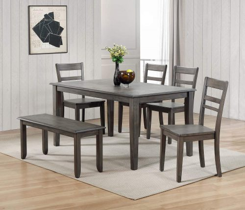 Shades of Gray - 6-piece dining set - dining table - four chairs - dining bench - dining room setting DLU-EL3660-C200-BN6PC