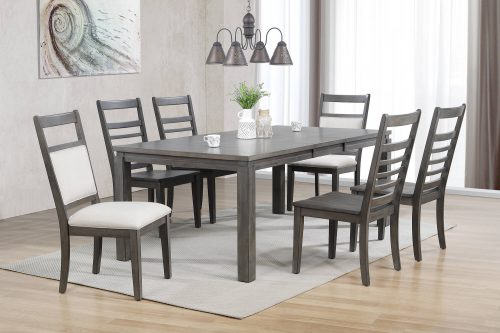Shades of Gray - 7-piece dining set - extendable dining table - six slat back chairs - dining room setting DLU-EL9282-4C100-2C90-7PC