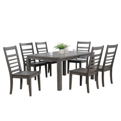 Shades of Gray - 7-piece dining set - extendable table with six slat back chairs DLU-EL9282-C100-7PC