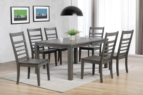 Shades of Gray - 7-piece dining set - extendable table with six slat back chairs - dining room setting DLU-EL9282-C100-7PC