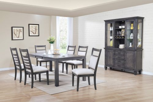 Shades of Gray - 9-piece dining set - extendable dining table - six upholstered chairs - buffet and hutch - dining room setting DLU-EL9282-C90-BH9PC