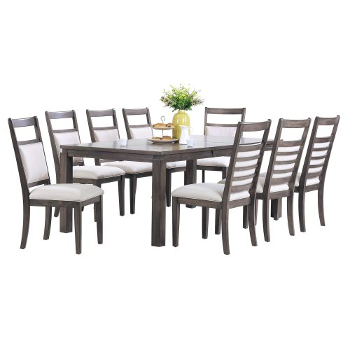 Shades of Gray - 9-piece dining set - extendable table with eight upholstered chairs DLU-EL9282-C90-9PC