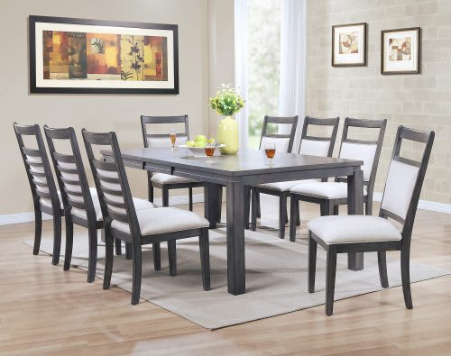 Shades of Gray - 9-piece dining set - extendable table with eight upholstered chairs - dining room setting DLU-EL9282-C90-9PC