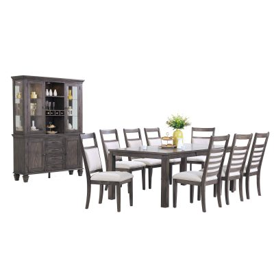 Shades of Gray Collection - 11-piece dining set - extendable dining table - eight upholstered chairs - buffet and hutch DLU-EL-9282-C90-BH-11PC
