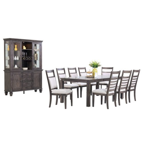 Shades of gray dining set - 11-piece - extendable dining table - eight chairs - buffet and hutch - DLU-EL9282-C90-BH11PC