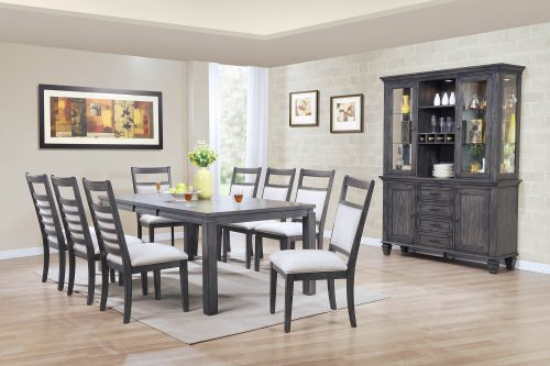 Shades of gray dining set - 11-piece - extendable dining table - eight chairs - beffet and hutch - dining room setting DLU-EL9282-C90-BH11PC