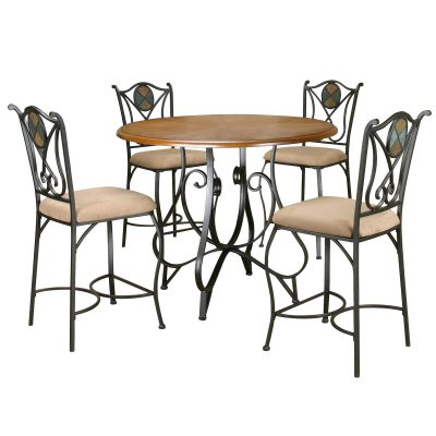 Vail counter height dining table and matching stools - scrolled metal base with distressed medium-Oak finish CR-W2597-5PC