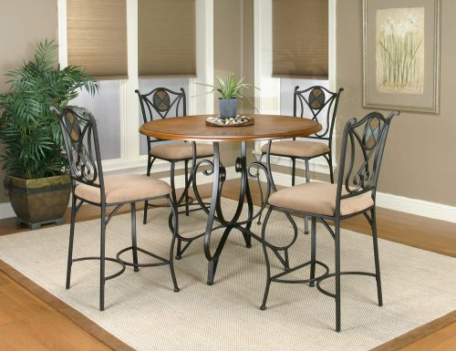 Vail counter height dining table and matching stools - scrolled metal base with distressed medium-Oak finish - dining room setting CR-W2597-5PC