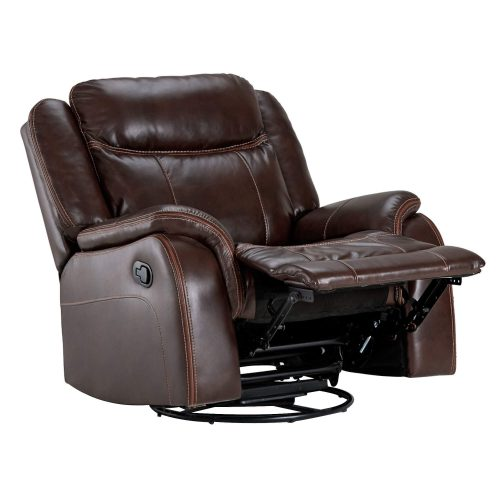 Avant Rocking Swivel Recliner in Brown - Angled view with leg rest up-SU-AV8604041-107