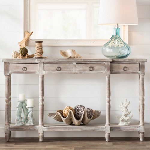 Shabby Chic Collection - Console table in distressed gray - front view in room setting- CC-TAB1013S-LW