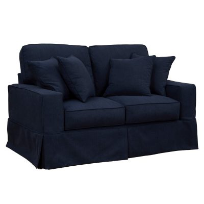 Americana Slipcovered Collection: Loveseat, three-quarter view. Fabric color: 391049